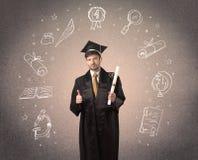 Lycklig doktorand- tonåring med hand drog skolasymboler Arkivbilder