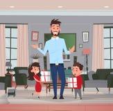 Lycklig dotter för ferie för familj för faderdag och närvarande gåvor för son för farsa i lägenhet för vardagsrumhälsningkort royaltyfri illustrationer