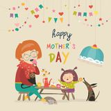 lycklig dotter henne moder vektor illustrationer