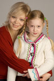 lycklig dotter henne moder fotografering för bildbyråer