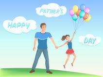 Lycklig dotter med hennes fader Royaltyfri Fotografi