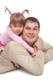lycklig dotterfader Fotografering för Bildbyråer
