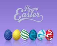 Lycklig easter bakgrund med färgrika easter ägg på blå bakgrund arkivbild