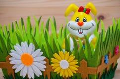 Lycklig easter kanin i ett rede med gräs och blomman Royaltyfri Bild
