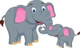 Lycklig elefantfamiljtecknad film Royaltyfri Bild