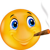 Lycklig emoticonsmileyEmoticonsmiley som röker cigarren royaltyfri illustrationer