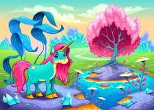 Lycklig enhörning i ett landskap av drömmar vektor illustrationer