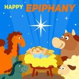 Lycklig epiphanybegreppsbakgrund, tecknad filmstil stock illustrationer