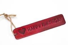 lycklig etikett för födelsedag Arkivfoto