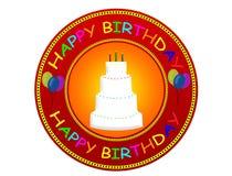 lycklig etikett för födelsedag Royaltyfri Bild