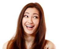 Lycklig extatisk extas för emotionell tonårig flicka som ler och ser t Royaltyfria Foton