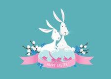Lycklig färgrik vektor för sammansättning för easter kaniner Royaltyfri Fotografi
