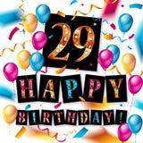 Lycklig födelsedag 29 år årsdag Royaltyfria Bilder