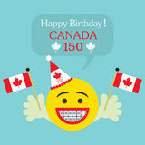 Lycklig födelsedag! Den Kanada 150 emojisymbolen med hänglsen och Kanada sjunker vektor illustrationer