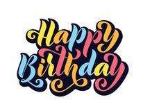 lycklig födelsedag Dragen hand märka kortet Modern illustration för borstekalligrafivektor Ljus text på vit bakgrund vektor illustrationer