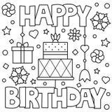 lycklig födelsedag Färga sidan också vektor för coreldrawillustration vektor illustrationer