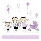 Lycklig födelsedag, föräldrar med barn som är nyfödda 库存图片