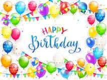 Lycklig födelsedag för blå text med ballonger och mångfärgade konfettier royaltyfri illustrationer