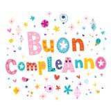Lycklig födelsedag för Buon compleanno i italienskt hälsningkort Royaltyfri Bild