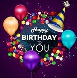 Lycklig födelsedag för färgrika ballonger på purpurfärgad bakgrund Royaltyfri Foto