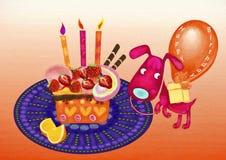 lycklig födelsedag för flygillustration för näbb dekorativ bild dess paper stycksvalavattenfärg Royaltyfri Bild