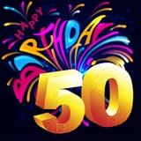 Lycklig födelsedag för fyrverkerier med ett guld- nummer 50 Arkivfoton