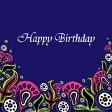 Lycklig födelsedag för hälsningkort med blommor Royaltyfri Foto