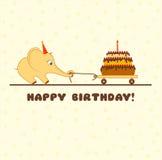 Lycklig födelsedag för hälsningkort (tecknad filmelefanten med kakan) Arkivbild