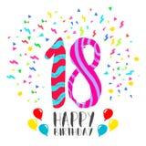 Lycklig födelsedag för kort för 18 år partiinbjudan Royaltyfria Foton