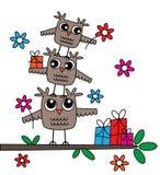 Lycklig födelsedag för tre gulliga ugglor stock illustrationer