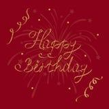 Lycklig födelsedag för vektorhälsningkort, bokstäver, kalligrafi på ett mörker - röd bakgrund Royaltyfri Bild