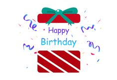 Lycklig födelsedag, gåva, överraskningkonfettiparti, garneringpapper stock illustrationer