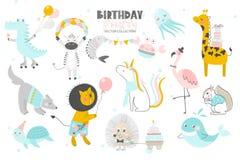 lycklig födelsedag Gullig dragen stil för djur hand Sömlös blom- bakgrund royaltyfri illustrationer