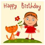 Lycklig födelsedag - hälsningkort med den roliga flickan och kattungen royaltyfri foto