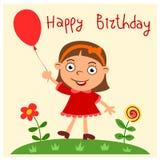 Lycklig födelsedag - hälsningkort med den roliga flickan arkivbild