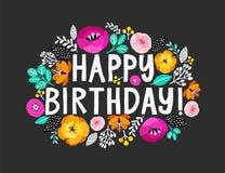 lycklig födelsedag Härligt hälsa kort med bokstäver och blommor för hand skriftlig omkring Utdragen inbjudanT-tröja för hand royaltyfri illustrationer