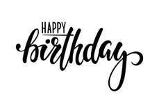 lycklig födelsedag Hand dragen kalligrafi och borstepennbokstäver planlägg för feriehälsningkort och inbjudan av baby shower, bi Fotografering för Bildbyråer