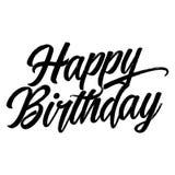 Lycklig födelsedag - hand dragen typografiaffisch royaltyfri illustrationer
