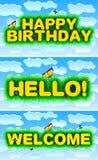 Lycklig födelsedag, Hello, välkomnande Fotografering för Bildbyråer
