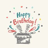 Lycklig födelsedag i asken stock illustrationer