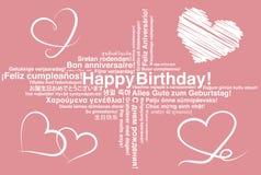 Lycklig födelsedag i olikt kort för språkwordcloudhälsning stock illustrationer