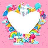lycklig födelsedag Kort med enhörning- och fantasiobjekt vektor illustrationer