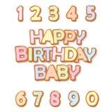 lycklig födelsedag Ljusbruna den drog tecknad filmhanden märker och nummer Gullig design för ungar i pastellfärgade färger För at royaltyfri illustrationer