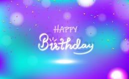 Lycklig födelsedag, lyckönskankortbegrepp, konfetti för garnering för bakgrund för neon för kalligrafi för strålkastareberömparti royaltyfri illustrationer