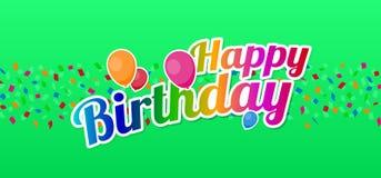 Lycklig födelsedag med konfettier och ballonger stock illustrationer