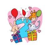 Lycklig födelsedag med stearinljuset och gulliga djur royaltyfri illustrationer