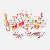 Lycklig födelsedag! Musikaliska lyckönskan royaltyfri illustrationer
