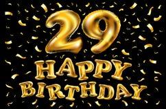 Lycklig födelsedag nummer 29, hälsningkort för tjugonio år i rolig konststil med kakan och stearinljus Årsdaginbjudan, cong Arkivbilder