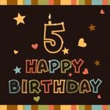 Lycklig födelsedag. Numrera fem Arkivbild