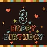 Lycklig födelsedag. Numrera tre Fotografering för Bildbyråer